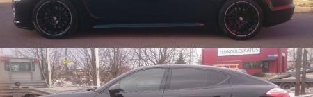 Porsche Panamera enne ja pärast kiletamist. Kiletatud täisring - Tagaklaas 5%, Tagumised uksed 20%, Esimesed uksed 30%